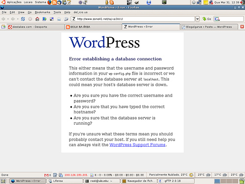 wordpress database error