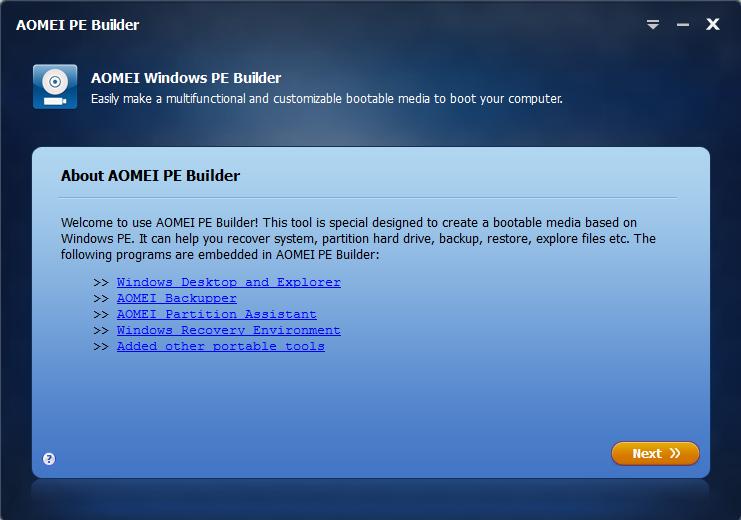 AOMEI Windows Pre-installation Environment PE Builder